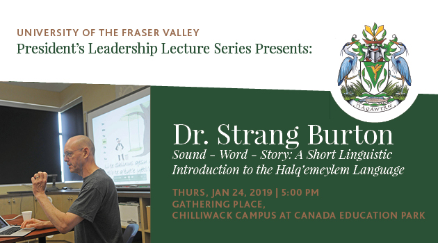 Linguist Strang Burton to speak on revitalizing Halq'eméylem at UFV on Jan 24