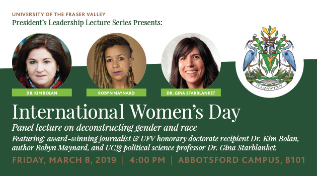 Powerful panel trio for International Women's Day at UFV